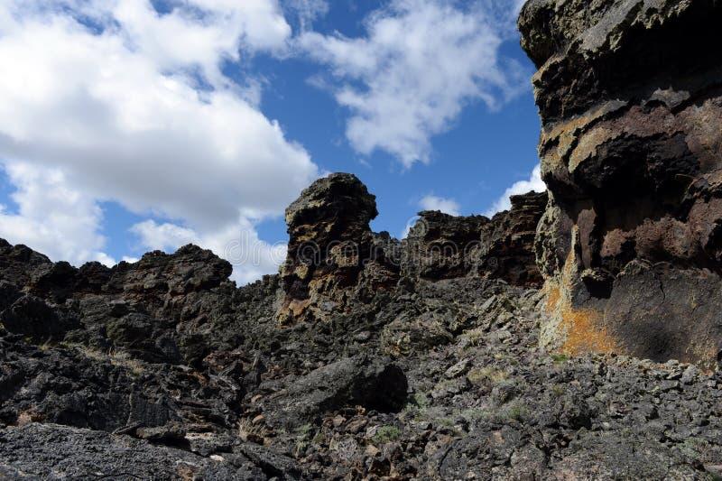 Vulcão extinto o domicílio do diabo no parque nacional Pali Aike no sul do Chile imagem de stock royalty free