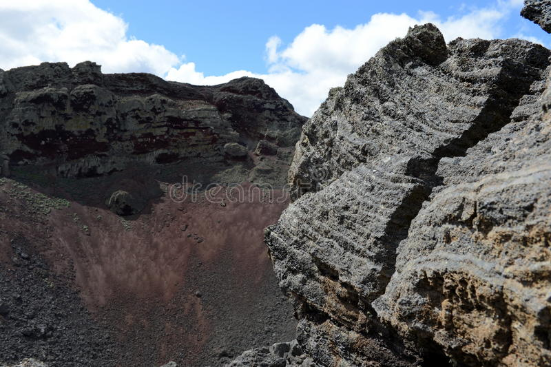 Vulcão extinto o domicílio do diabo no parque nacional Pali Aike no sul do Chile fotografia de stock royalty free