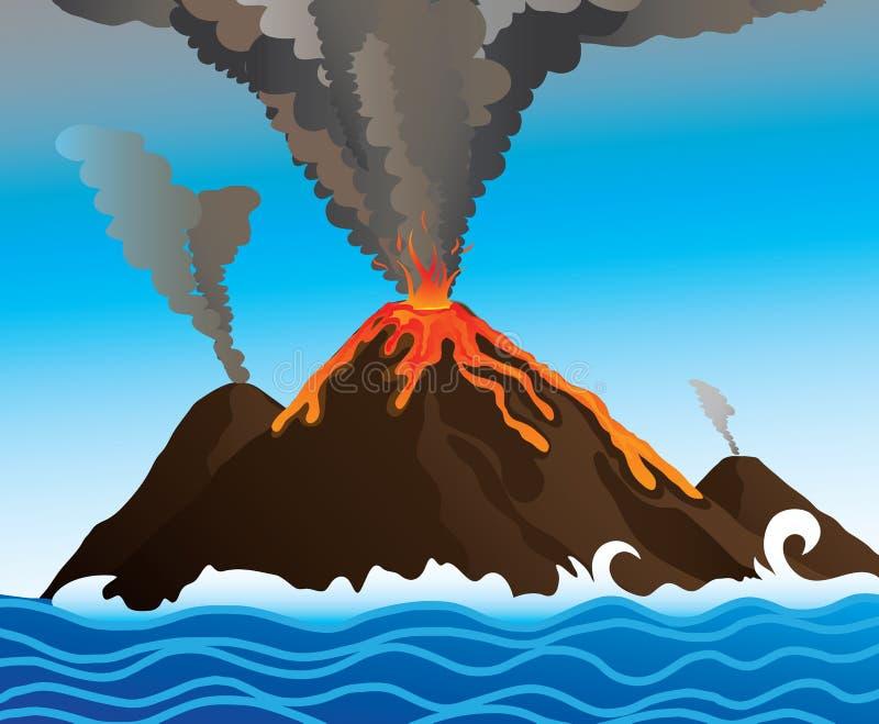 Vulcão no oceano ilustração do vetor
