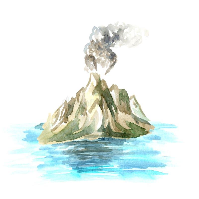 Vulcão no oceano, ilustração tirada mão da aquarela ilustração do vetor