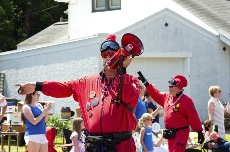 Vulcan Krewe Entertains Crowd at Mendota Parade. Mendota, Minnesota/USA - July 13, 2019: Vulcan Krewe of Saint Paul Winter Carnival tradition entertains royalty free stock photos