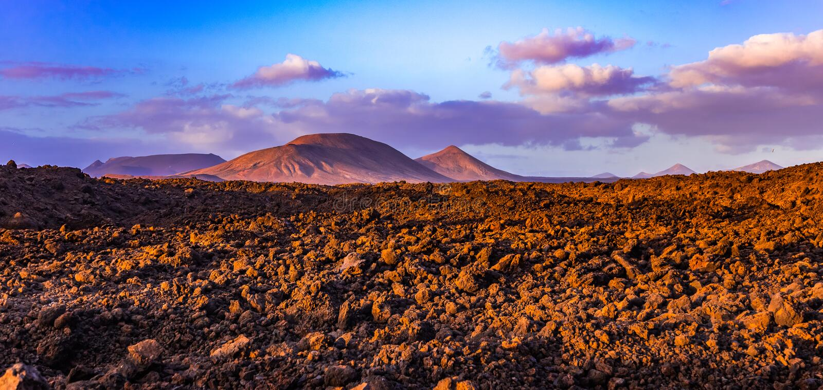 Vulcanes of Lanzarote. Photography of vulcanes at Lanzarote island in sunset, Canary Islands, Spain