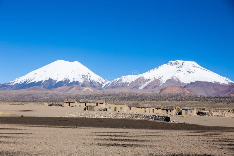 Vulcani di Pomerade e di Parinacota Alto paesaggio andino in A immagini stock