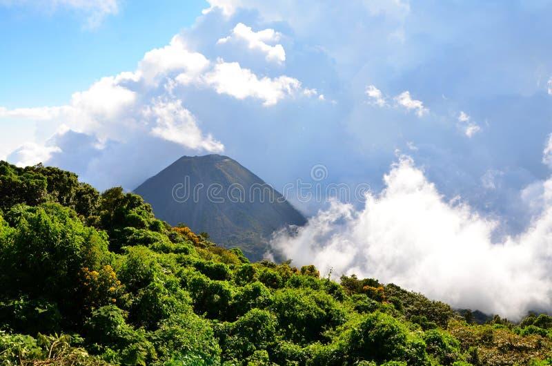 Vulcano attivo Yzalco in nuvole immagini stock
