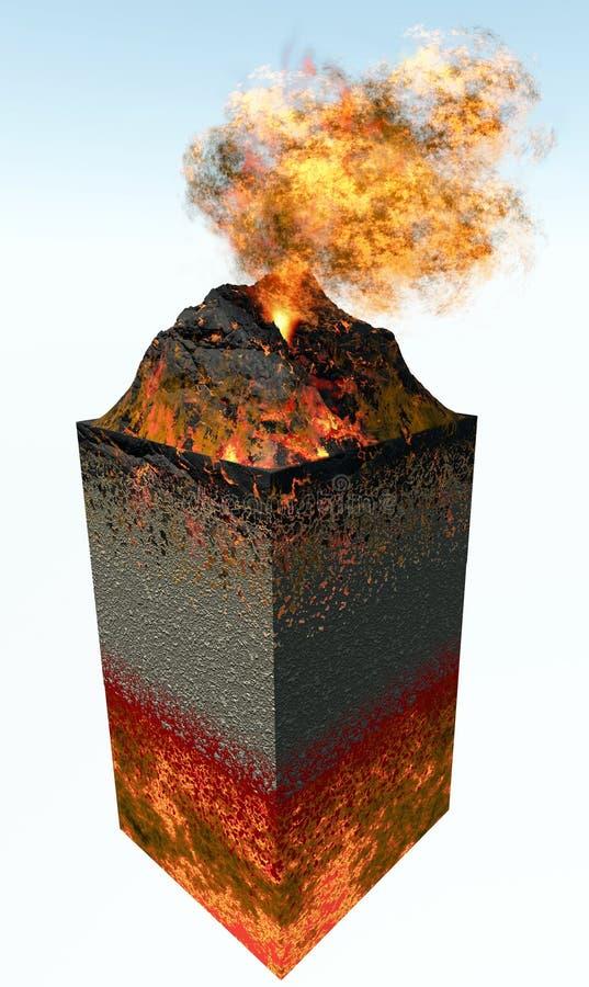 Vulcano che erompe lava e le nubi di fuoco illustrazione di stock