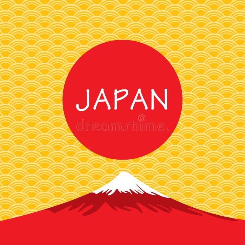 Vulcano di Fuji del Giappone sul fondo del giapponese dell'oro royalty illustrazione gratis