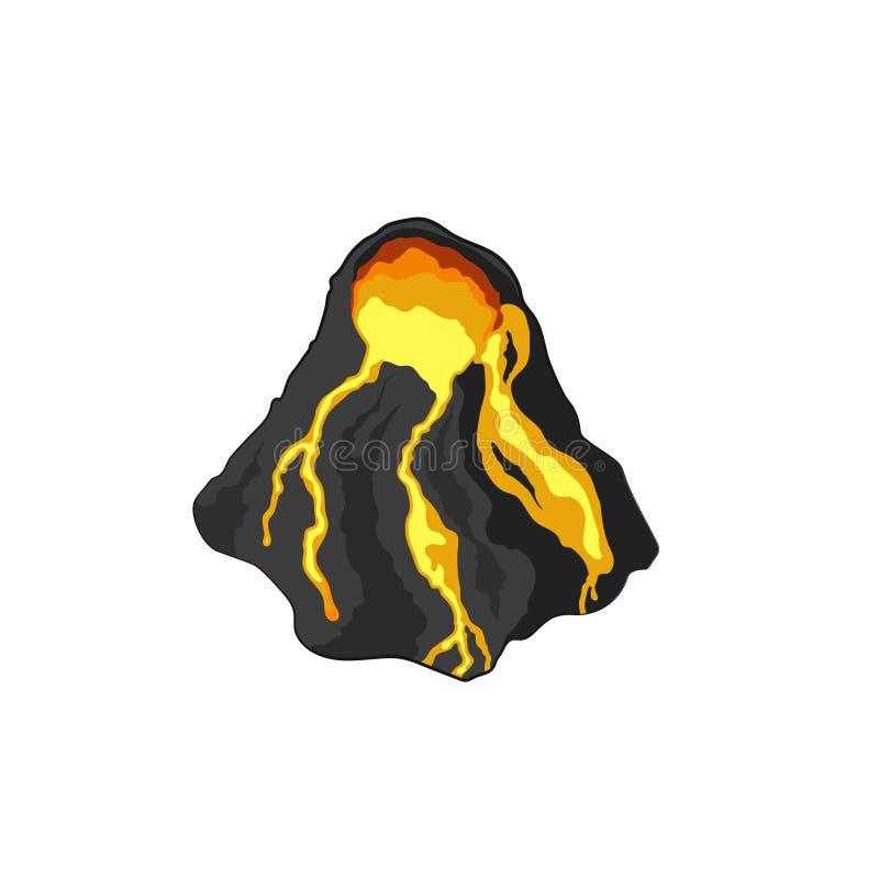 Vulcano nello stile isometrico Immagine isolata di roccia vulcanica Icona della montagna 3d del fumetto Sprite del gioco illustrazione di stock