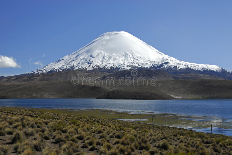 Vulcano Parinacota e lago Chungara fotografia stock libera da diritti