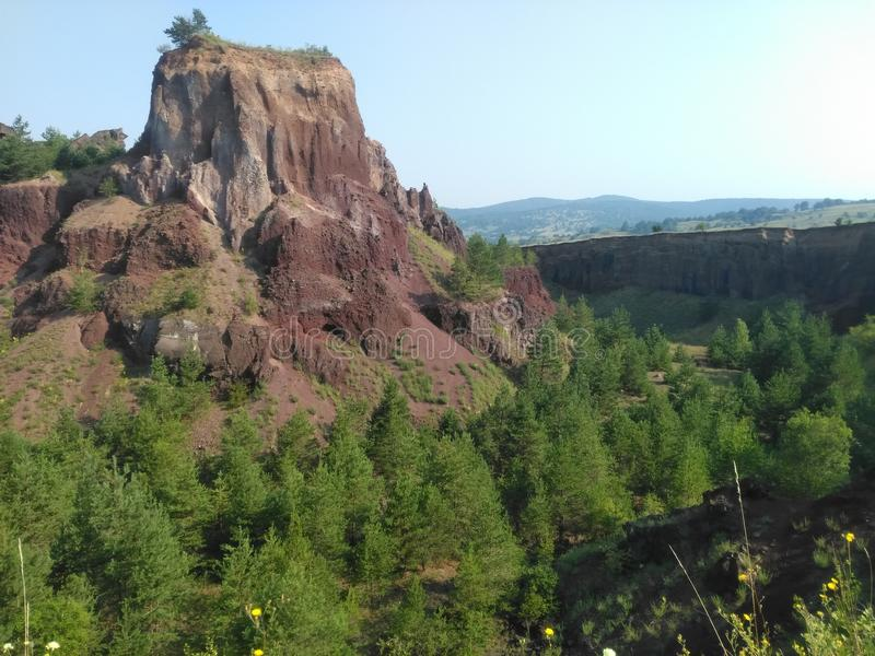 Extinct vulcano. Racos extinct vulcano geological site, Brasov county, Transylvania, Romania stock photos