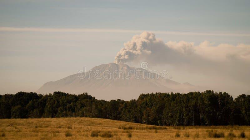 Vulcano scoppiante & di fumo Calbuco come visto da Puerto Montt, Cile fotografia stock libera da diritti