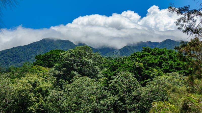 Vulcano van Rinconde La vieja en nevelige wolken stock afbeeldingen