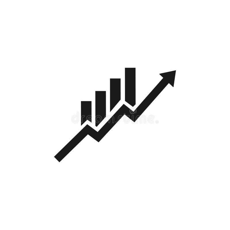 Vulde de winsten die vectorzwarte pictogram op witte achtergrond wordt geïsoleerd, profiteert embleemconcept of illustratie stock illustratie