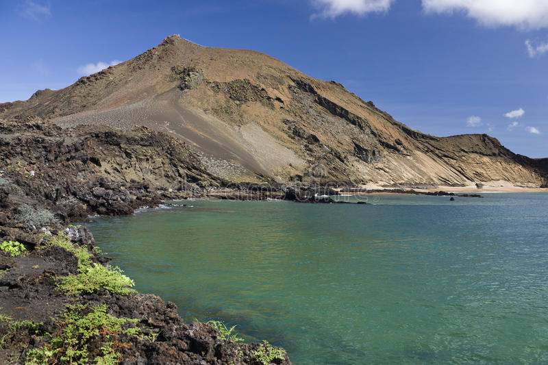 Vulkaan - de Eilanden van Bartolome - van de Galapagos stock foto