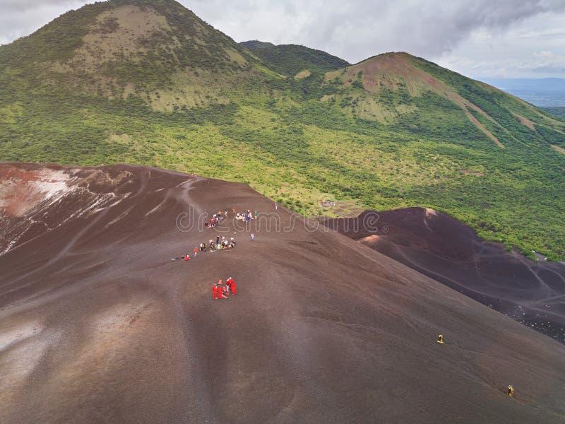 Vulkaan het glijden reis in Nicaragua royalty-vrije stock foto's