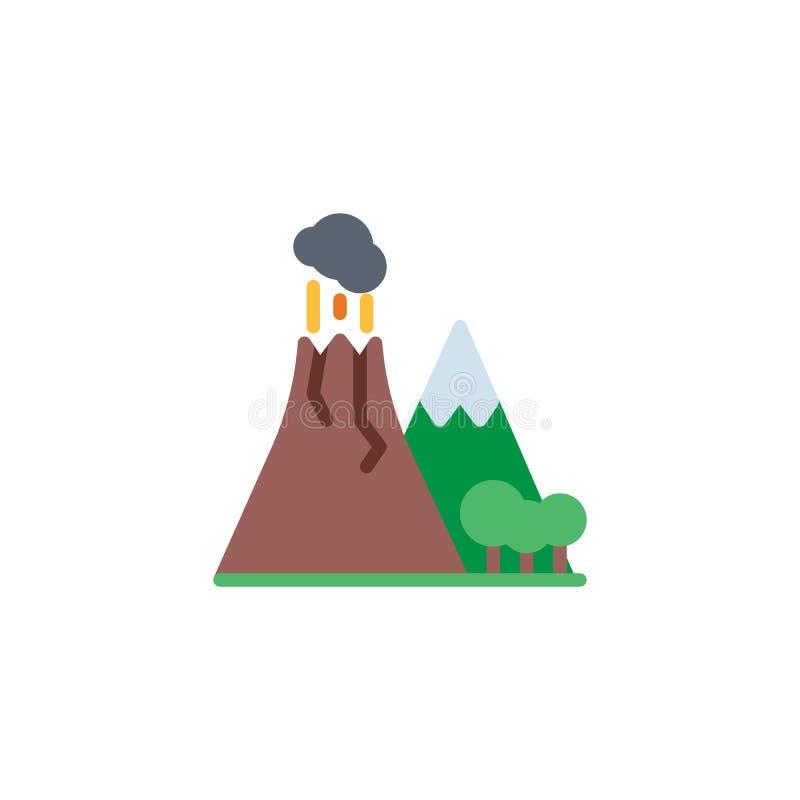 Vulkaan met rook vlak pictogram royalty-vrije illustratie