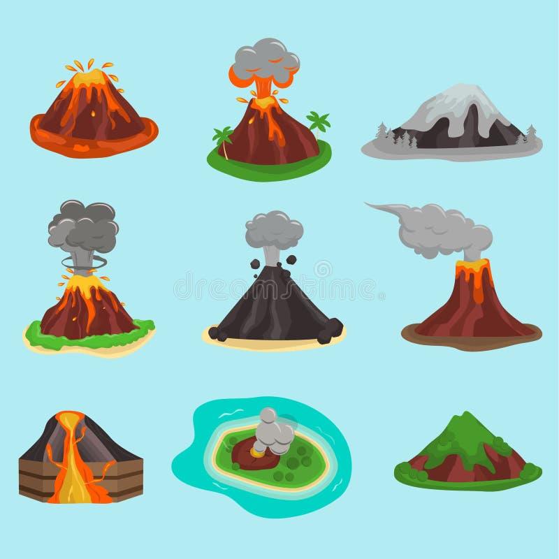 Vulkaan vastgestelde vectorillustratie