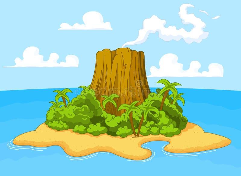 Vulkaaneiland royalty-vrije illustratie