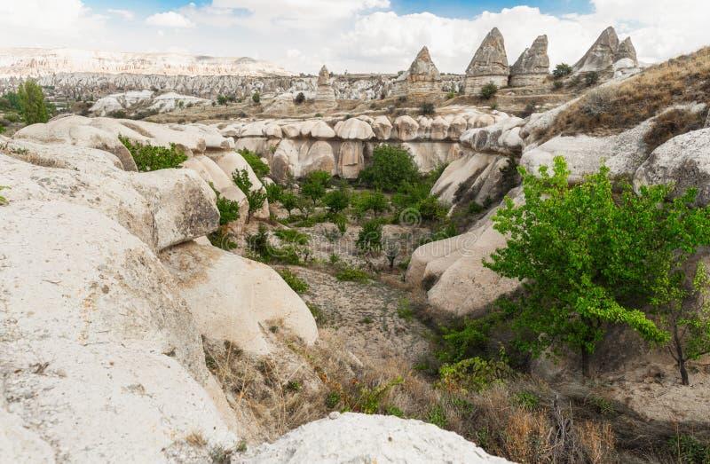 Vulkaangebergte in het Nationaal Park Cappadocia, Anatolië, Turkije royalty-vrije stock afbeelding