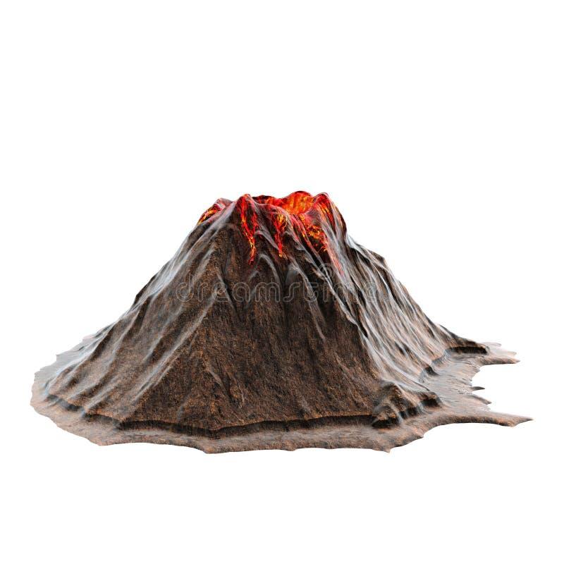Vulkaanlava zonder rook op isolatedbackground 3D Illustratie vector illustratie