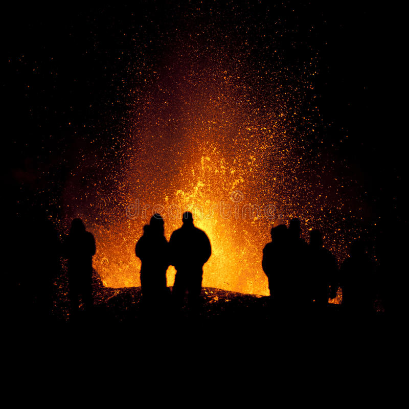 Vulkaanuitbarsting, fimmvorduhals IJsland royalty-vrije stock foto