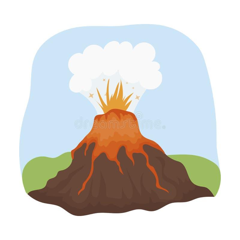 Vulkaanuitbarstingpictogram in beeldverhaalstijl op witte achtergrond wordt geïsoleerd die Dinosaurussen en de voorhistorische ve vector illustratie