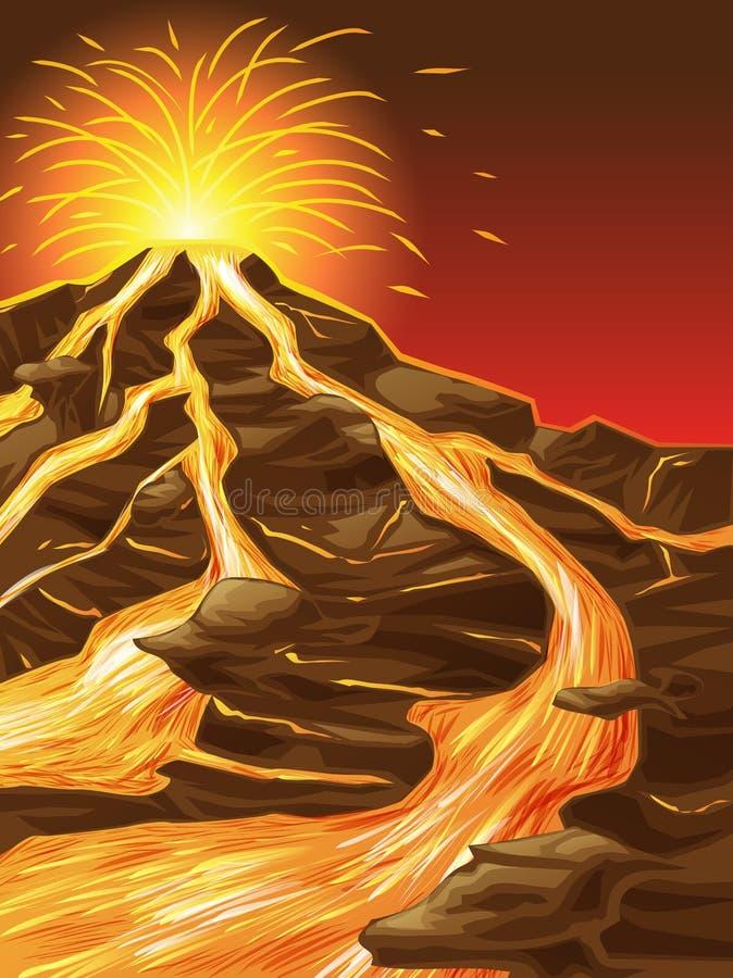 Vulkan är bruten stock illustrationer