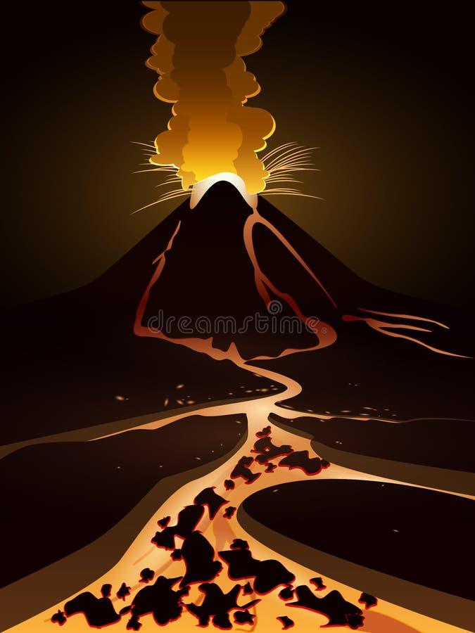 vulkan royaltyfri illustrationer