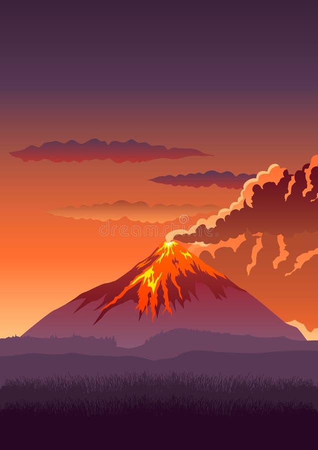 vulkan vektor illustrationer