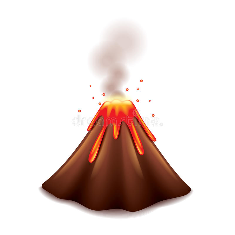 Vulkan auf weißem Vektor vektor abbildung