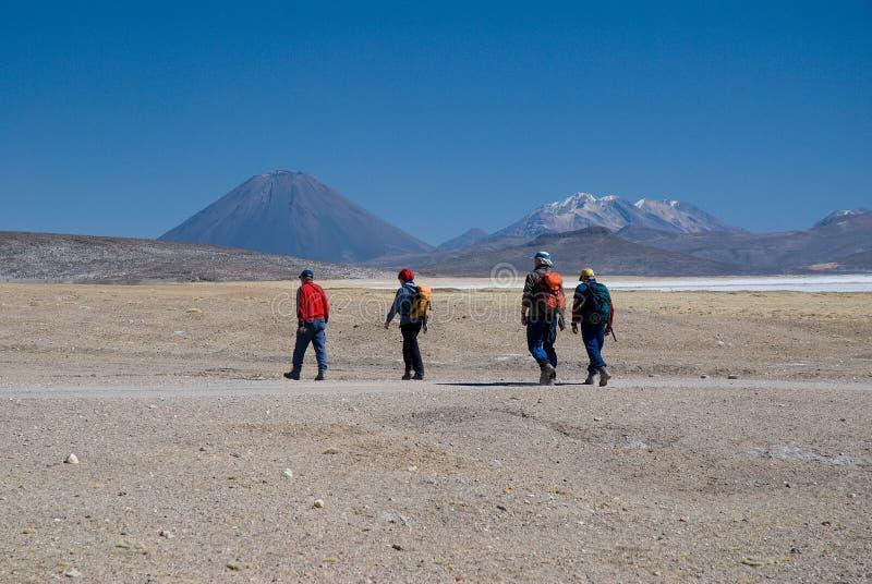 Vulkan El Misti och vulkan Nevado Chachani royaltyfria foton