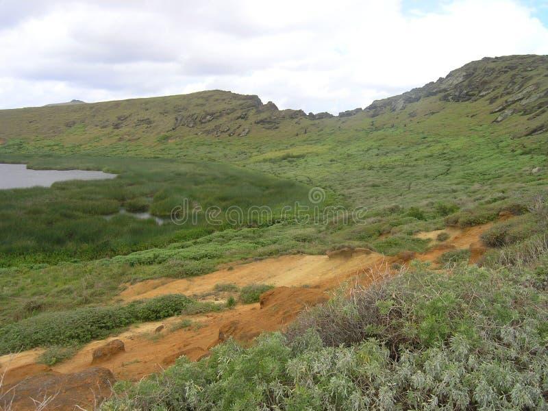 vulkan för raraku för easter örano arkivfoton