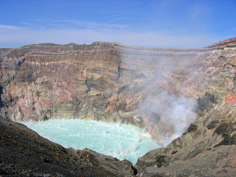 Vulkan-Krater Aso Kessel Japan stockfoto