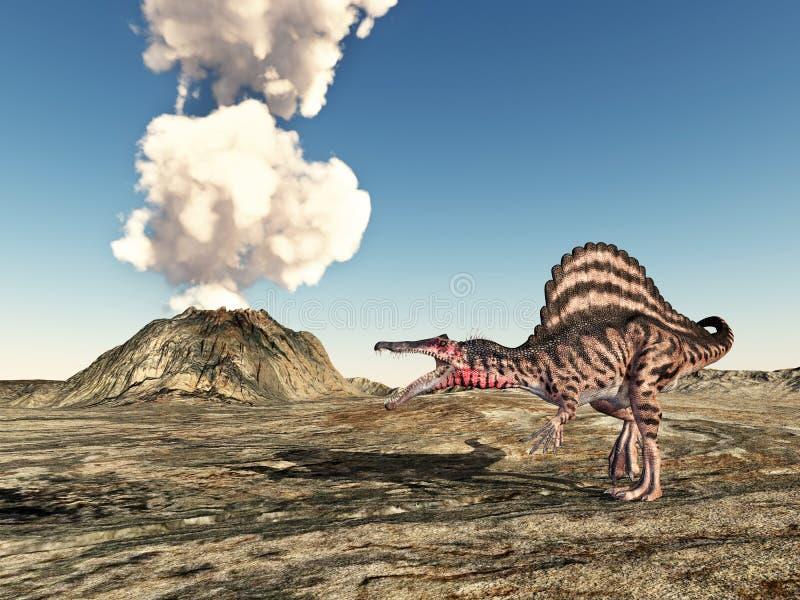 Vulkan och dinosaurien Spinosaurus royaltyfri illustrationer