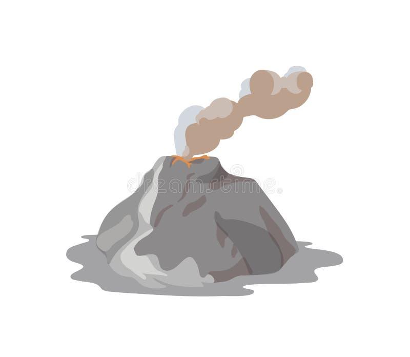Vulkan som får utbrott och sänder ut dunsten, dammmolnet och magma som isoleras på vit bakgrund Vulkanutbrott och seismiskt royaltyfri illustrationer