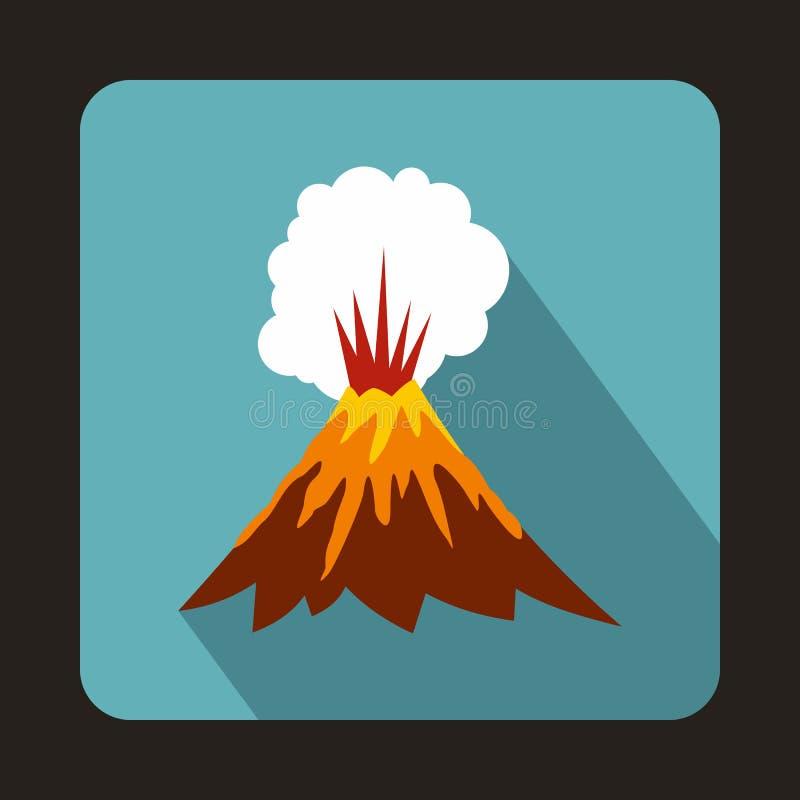 Vulkan som får utbrott symbolen, lägenhetstil royaltyfri illustrationer