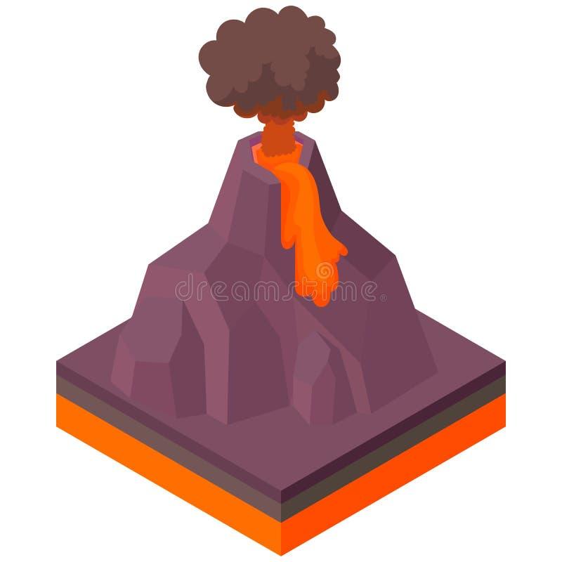 Vulkan som får utbrott symbolen, tecknad filmstil stock illustrationer