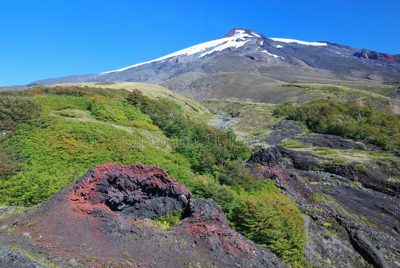 Vulkan Villarrica stockbilder