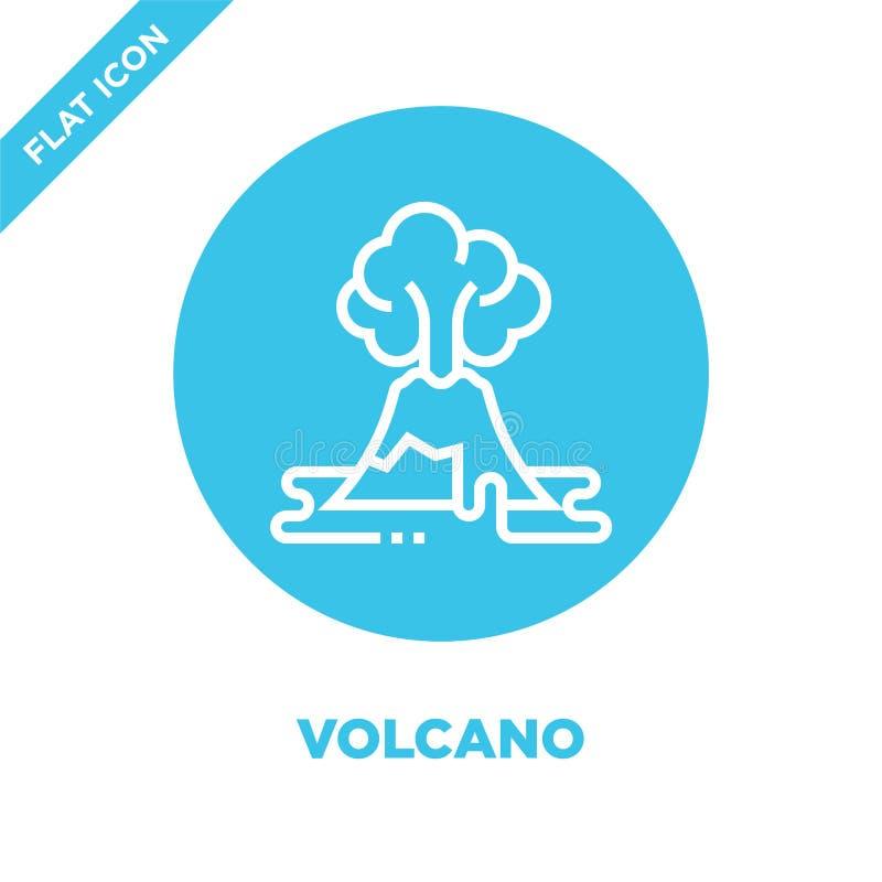 Vulkanikonenvektor von der Sammlung der globalen Erwärmung Dünne Linie Vulkanentwurfsikonen-Vektorillustration Lineares Symbol fü stock abbildung