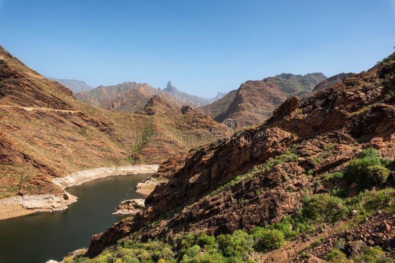 Vulkanisch berglandschap in Grote Kanarie, viewpoint mirador del molino, Canarische Eilanden, Spanje royalty-vrije stock fotografie