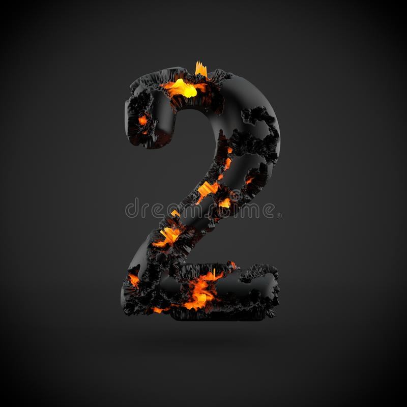Vulkanisch die nummer 2 op zwarte achtergrond wordt geïsoleerd stock afbeelding