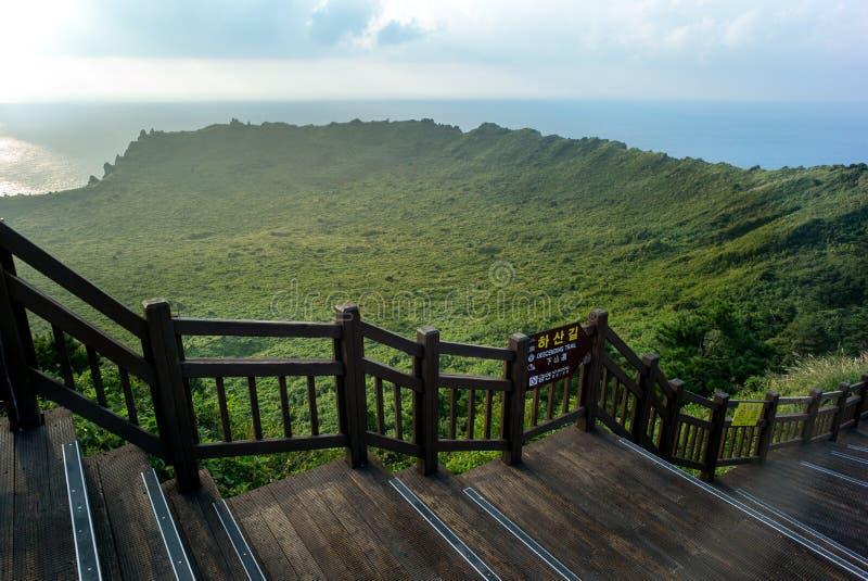 Vulkanisch krat van de piek van Seongsan Ilchulbong stock afbeelding