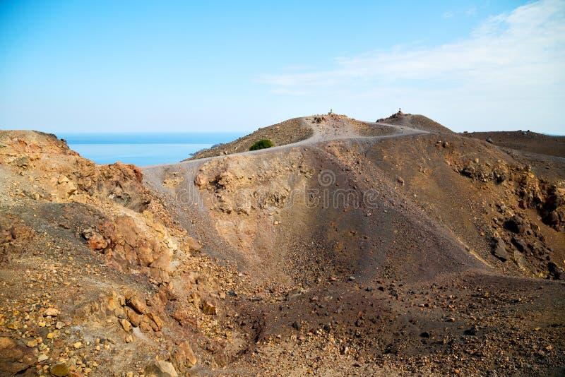 vulkanisch land in de hemel van santorinigriekenland van Europa en mediterraan s royalty-vrije stock foto's