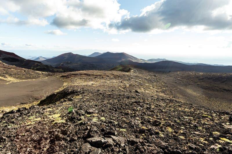 Vulkanisch landschap dichtbij actieve vulkaan Tolbachik, Kamchatka, Rusland stock fotografie