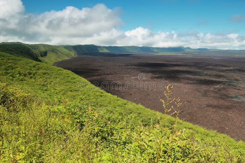 Vulkanisch landschap van de grote krater van Siërra negravulkaan in Isabela-eiland stock afbeeldingen
