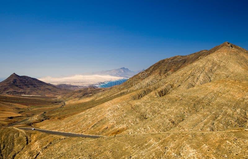 Vulkanisch landschap van Fuerteventura, Canarische Eilanden, Spanje royalty-vrije stock foto's