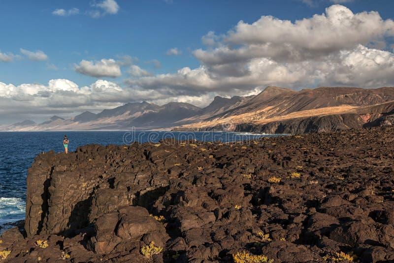 Vulkanisch landschap van Fuerteventura, Canarische Eilanden, Spanje royalty-vrije stock fotografie