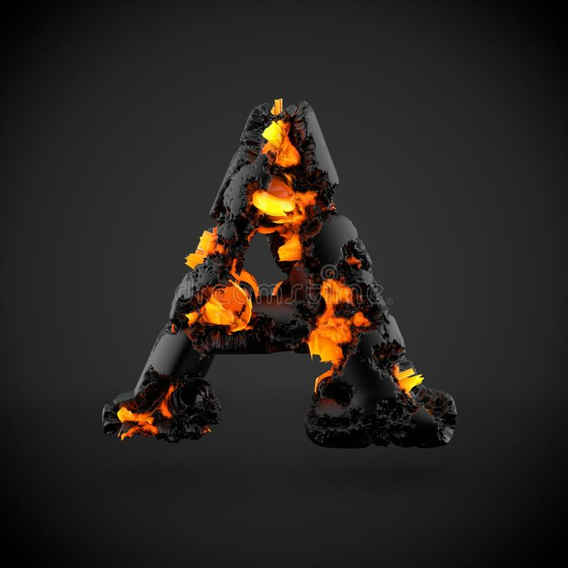 Vulkanische alfabetbrief A in hoofdletters geïsoleerd op zwarte achtergrond stock afbeelding