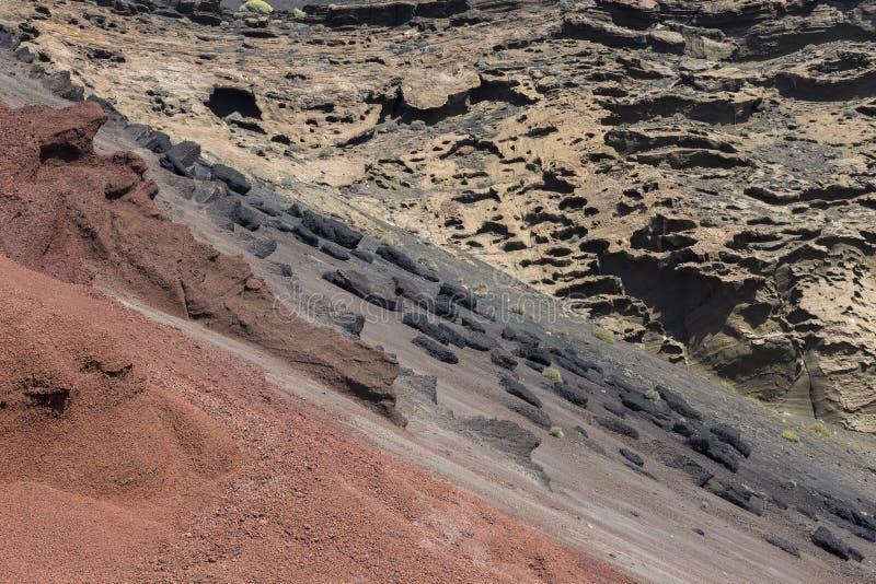 Vulkanische Asche nahe Dorf EL Golfo in Lanzarote stockfotos