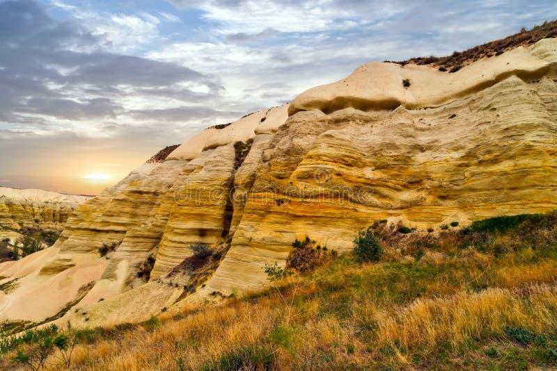 Vulkanische Felsen in der Türkei, textur Hintergrund-Kalksteinsandstein lizenzfreie stockfotografie