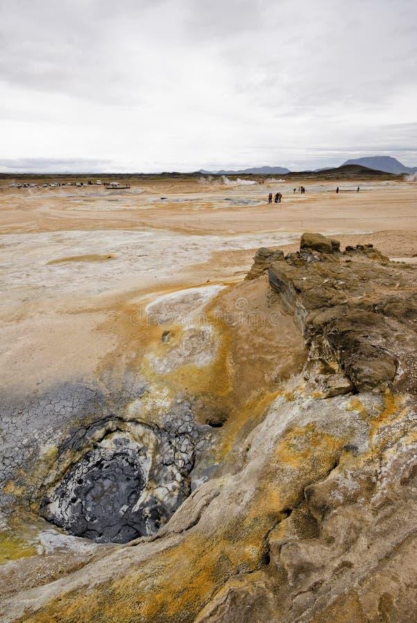 Vulkanische Landschaft in Island, Myvatn stockfotos